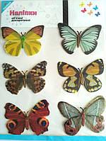 Декоративные бабочки на липучке 6шт большие