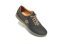 Кожаные мужские спортивные туфли черные ecco Barzoni, фото 1