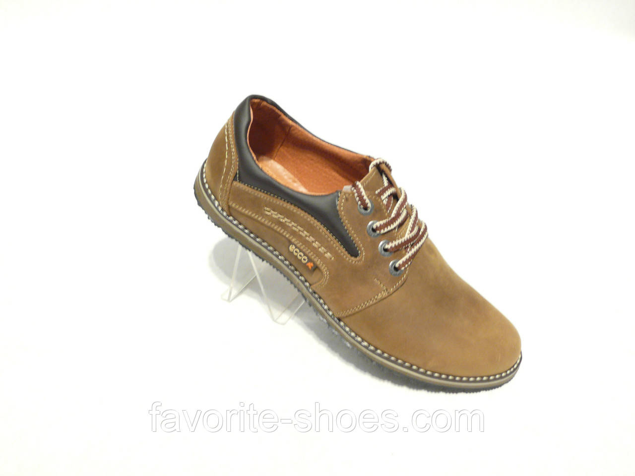 b534132ff Кожаные мужские спортивные туфли ECCO олива - Интернет - магазин