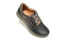 Кожаные мужские спортивные туфли черные стиль ecco Barzoni