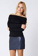 Короткая кожаная юбка Абра синяя