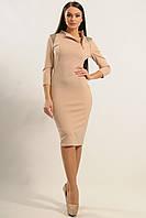 Универсальное трикотажное платье прилегающего силуэта из воротником-стойка по колено 42-52 размер