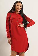 Удобное повседневное платье-рубашка из костюмной ткани осеннее 42-52 размеры, фото 1