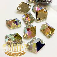 Пришивные камни(синтетич.стекло) Форма Космик 21х16мм Crystal AB 1шт