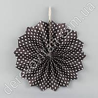 Подвесной веер,черный в мелкий горох, 20 см - бумажный декор-розетка