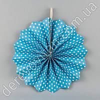 Подвесной веер, голубой в мелкий горох, 20 см - бумажный декор-розетка