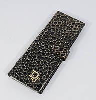 Визитница кожаная женская Dior черная с золотом, 68 файлов