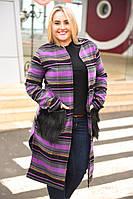 Женское кашемировое пальто с меховыми карманами больших размеров до 56-го.  Хит сезона!