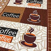Вафельная ткань Кофе коричневая, ширина 50 см