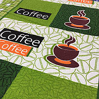 Вафельная ткань Кофе зеленая, ширина 50 см