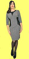 Молодежное платье с кожанными вставками больших размеров 52-60