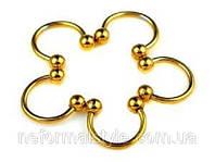Полукольцо (толщина 1.6 мм) 10 мм для украшения пирсинга с шариками. Сталь 316L, золотое анодирование.