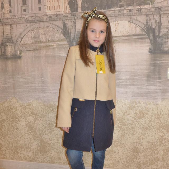 """Кашемировое пальто для девочки """"Микс"""" беж-синий, 128-156 рост"""