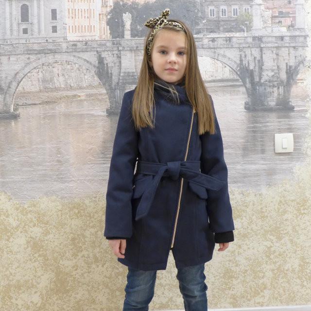 """Кашемировое пальто""""Косушка - малыш"""" синий, 98-128 рост"""