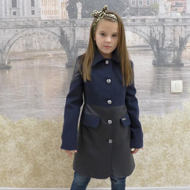 """Кашемировое пальто для девочки """"Фенди"""" синий, 128-156 рост"""
