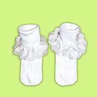 Трикотажные нарядные носочки Eslayn с кружевом белый р.8