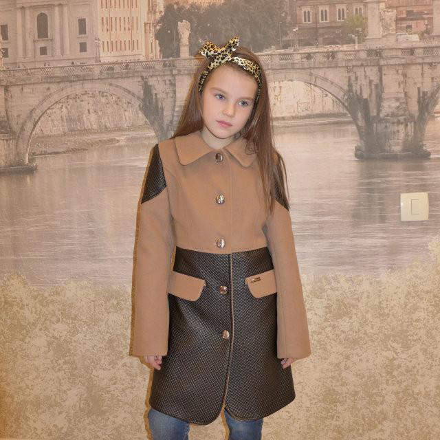 """Кашемировое пальто для девочки """"Фенди"""" шоколад, 128-156 рост"""