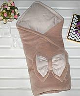 Демисезонный плед-конверт из велюра для новорожденного малыша. Полосочка