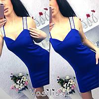 Женское стильное платье с камнями на брительках (4 цвета)
