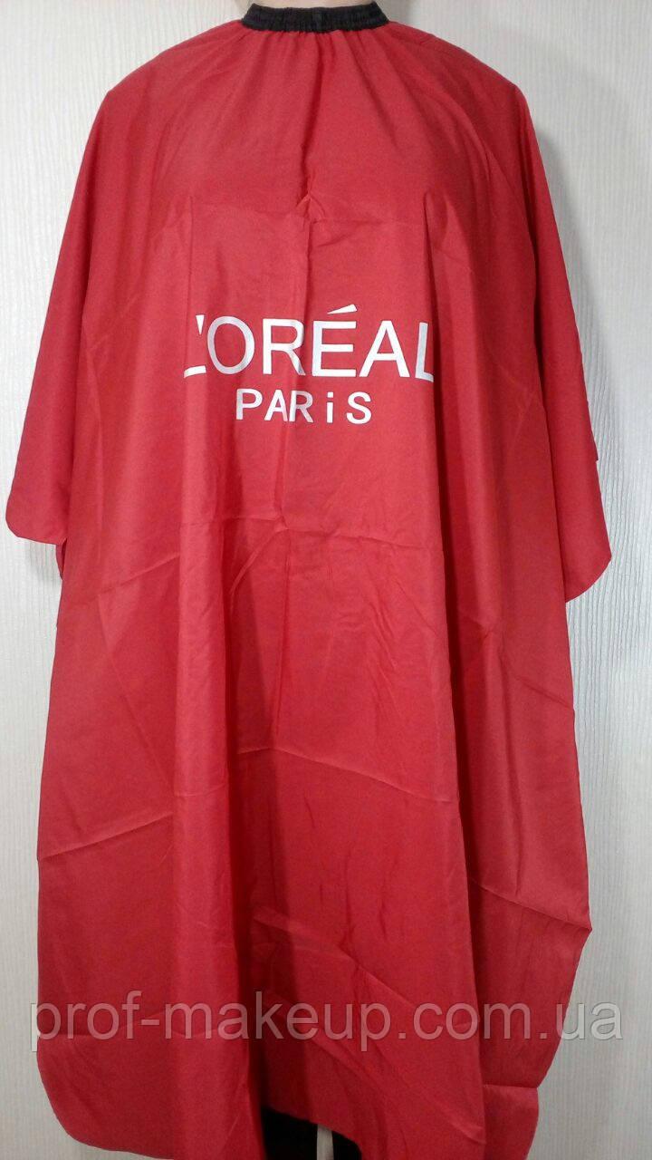 """Пеньюар для стрижки та фарбування волосся """"LOREAL"""", червоний."""