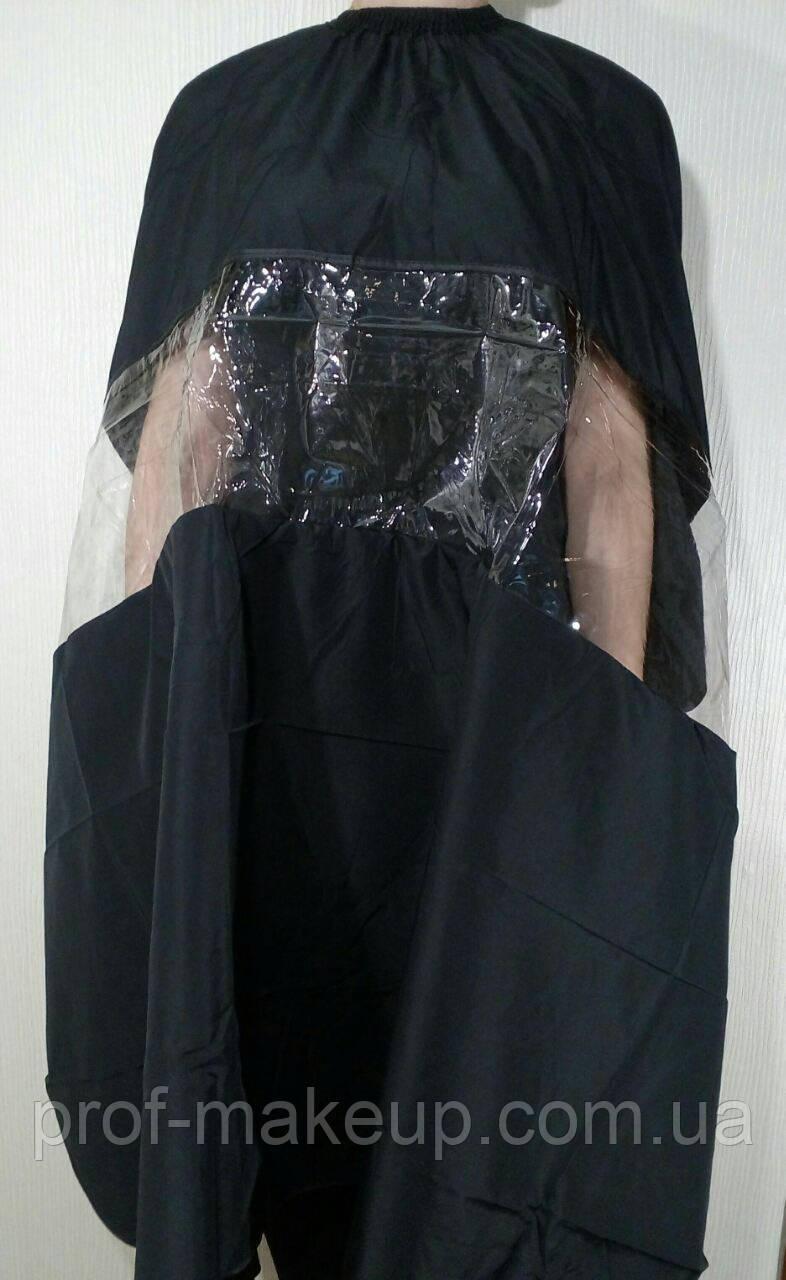 Пеньюар для стрижки с прямоугольным окном, черный.