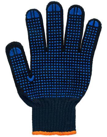 Перчатки рабочие 7 нитей c ПВХ-точкой черные