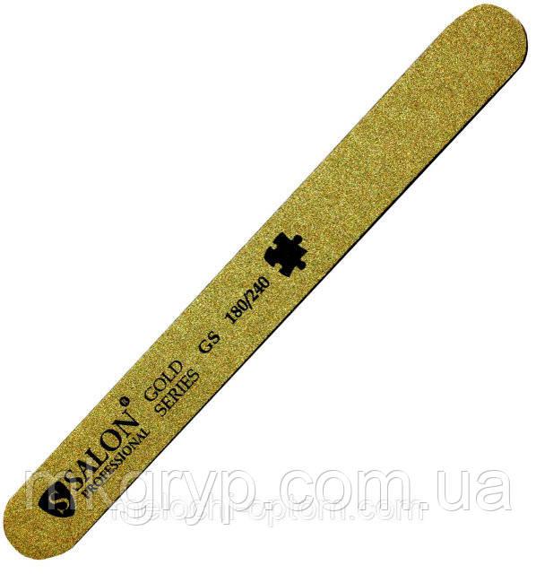 Пилка для ногтей Salon Professional 180/240, прямая, узкая, золото,