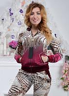 Женский спортивный гламурный костюм из велюра, разм 42,44,46,48 , фото 1