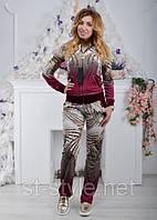 Женский спортивный гламурный костюм из велюра, разм 42,44,46,48