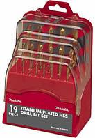 Набор титановых сверл по металлу MAKITA 1-10 мм 19 шт.  P-30813