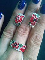 Сережки серебряные Красные маки 0223