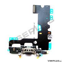 Шлейф Apple iPhone 7, черный, с разъемом на зарядку, с микрофоном