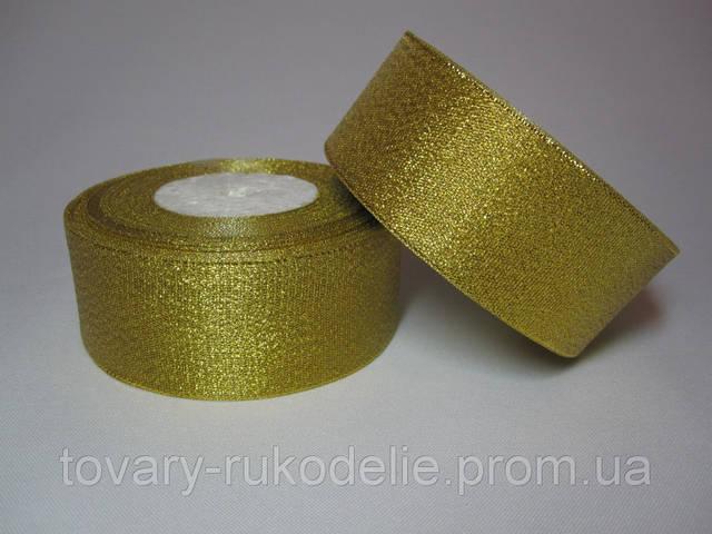 Лента парчова 5 см золотиста брак