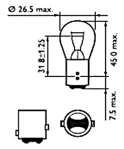Светодиодная лампа в габарит/стоп сигнал с цоколем 1157(P21/5W)(BAY15D) 24W-Красный, фото 2