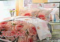 """Комплект постельного белья двуспальный евро """"Розы""""."""