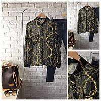 Элегантная прозрачная блуза с декоративным принтом в виде переплетенных цепочек  BL0756