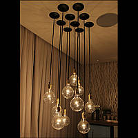 Подвесной светильник  люстра  [ LOFT Bunch grup - 10 Lamp Edisons ] (сделай сам)