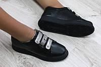 Туфли женские на липучках черные