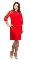 Нарядно женское платье с воротничком красное, фото 1