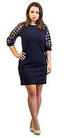 Нарядно женское платье с органзой синий, фото 1