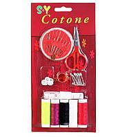 Набор швейный: нитки, ножницы, булавки, иглы, пуговицы, метр