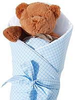 """Конверт -одеяло для новорожденного c бантом со вставкой( голубой ) """"Duetbaby"""""""