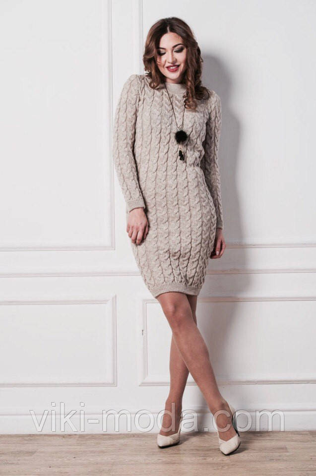 Вязаное стильное платье (100 см.) - Оптово - розничный магазин одежды viki- 4c7b4c14237