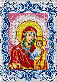 """Схема для вышивки бисером на габардине икона """"Богородица Казанская"""" (полная зашивка)"""