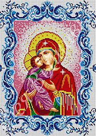 """Схема для вышивки бисером на габардине икона """"Богородица Владимирская"""" (полная зашивка)"""