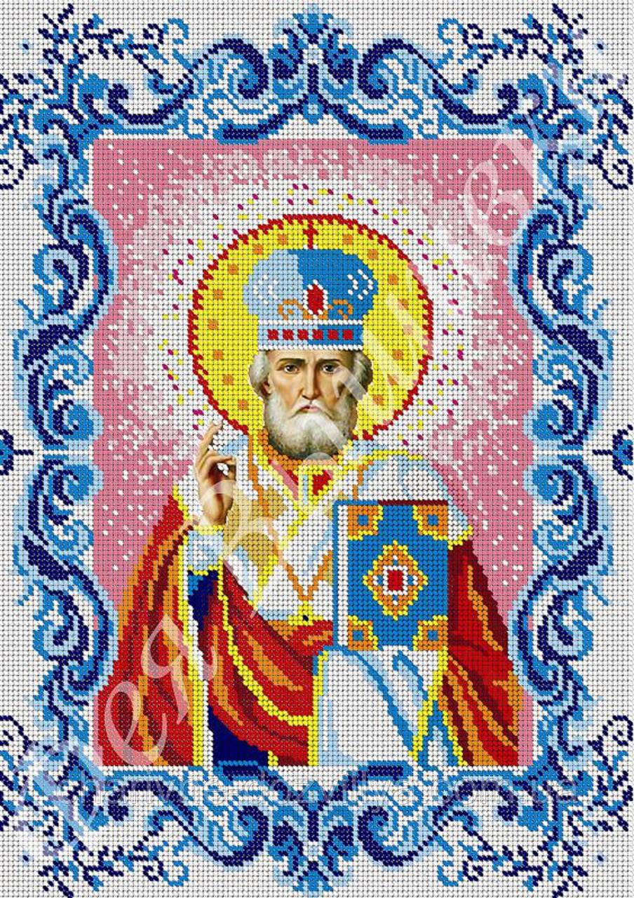 """Схема для вишивання бісером на габардині ікона """"Святий Миколай Чудотворець"""" (повна зашивання)"""