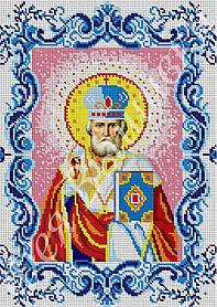 """Схема для вышивки бисером на габардине икона """"Святой Николай Чудотворец"""" (полная зашивка)"""