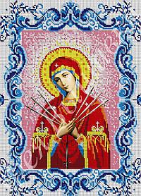 """Схема для вышивки бисером на габардине икона """"Богородица Семистрельная"""" (полная зашивка)"""