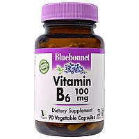 Bluebonnet Nutrition, Витамин В-6, 100 мг, 90 вегетарианских капсул