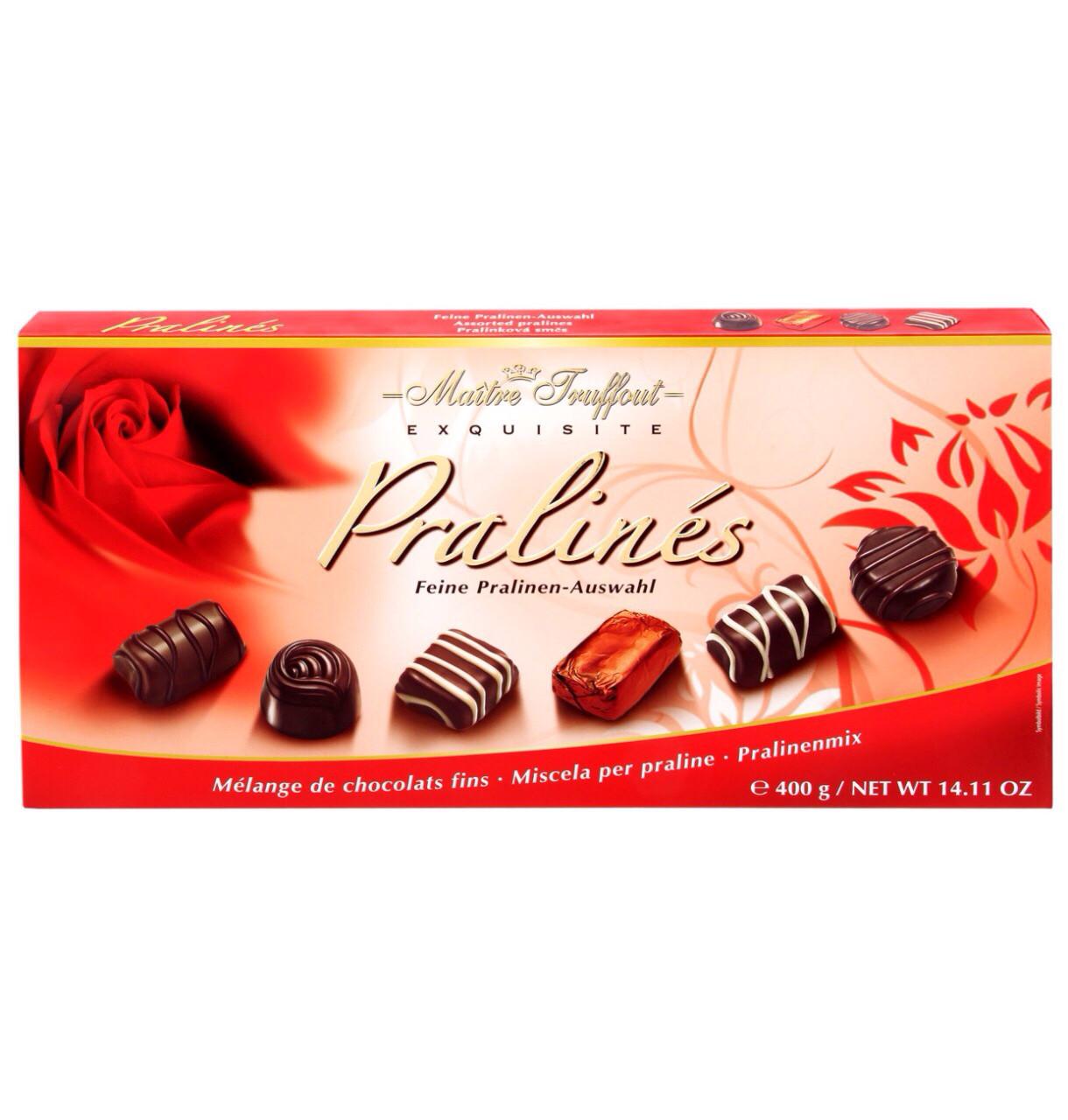 Шоколадные конфеты Maitre Truffout Exquisite Pralines с пралине 400 г Австрия